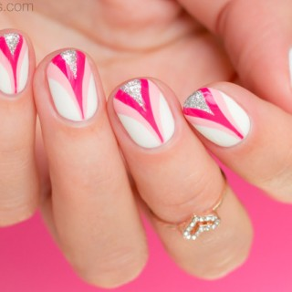 breast cancer nail art, pink nails