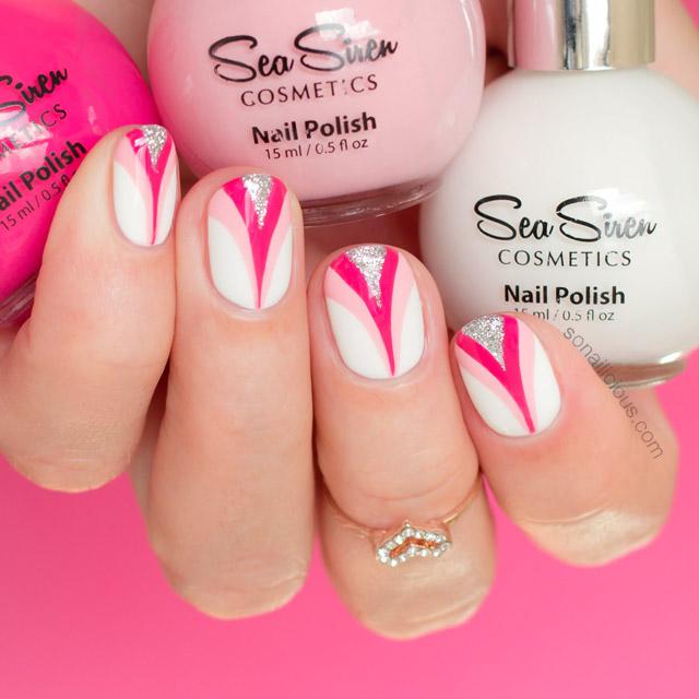 breast cancer nail art with pink nail polish
