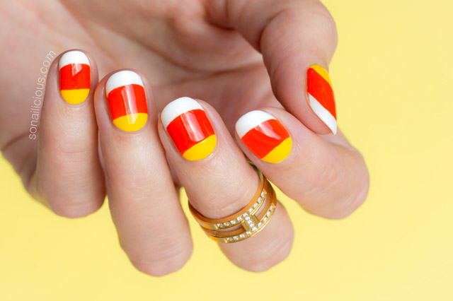 Candy Corn Nails For Halloween - Tutorial