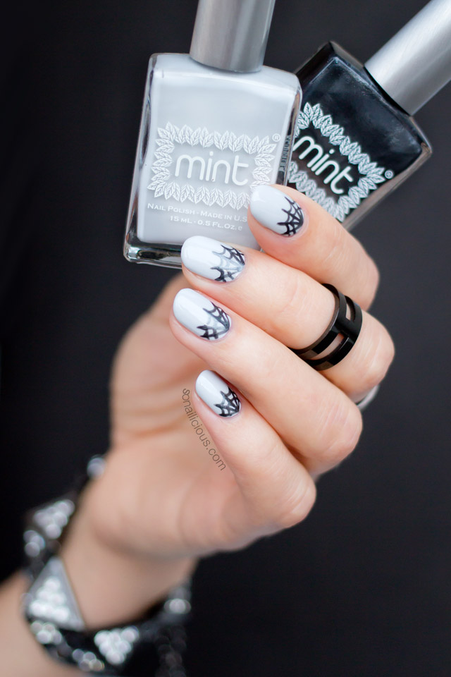 spider web nails by @so_nailicious