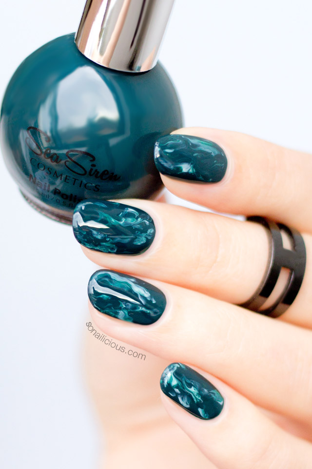GREEN MARBLE NAILS sea siren seaweed polish