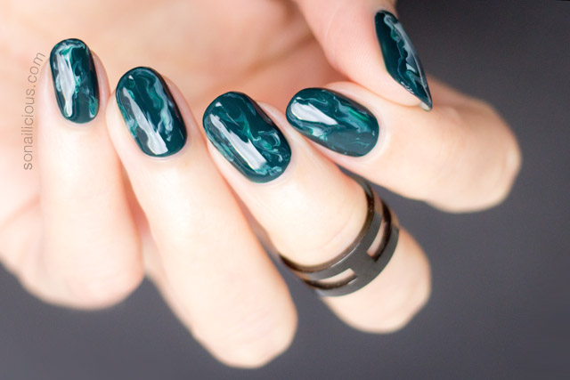 Green Marble Nails Mani Monday