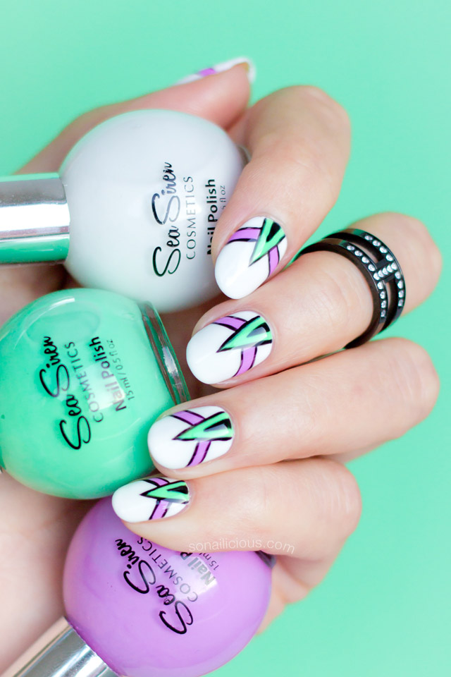 abstract nail art with sea siren mojito mania