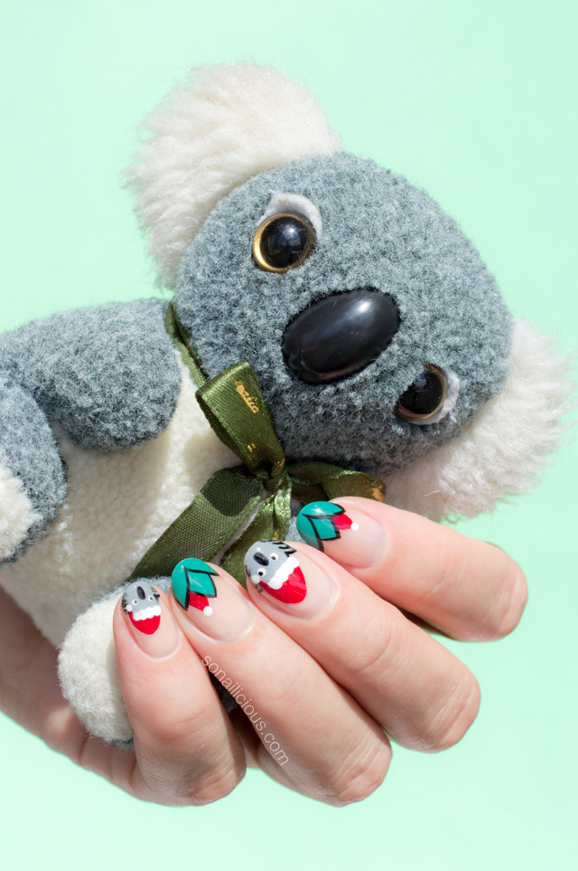 Santa Koala Christmas nails