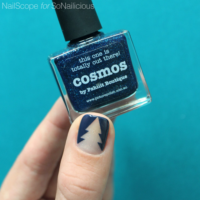 christmas tree nails, picture polish cosmos