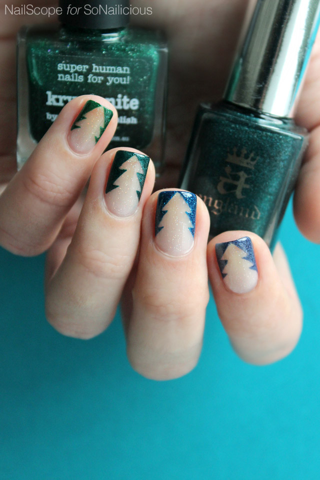 negative space christmas tree nails