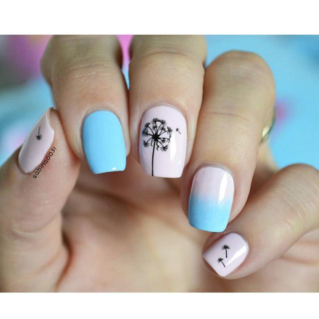 Pink and blue spring nails by @sabina0031