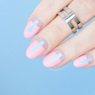 futuristic rose quartz nails