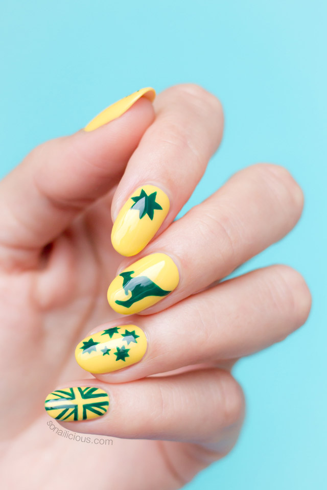 green and gold australia day nail art