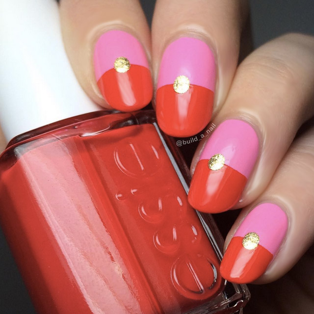 Colour block Valentine's Day nails by @build_a_nail