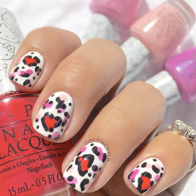 Leopard Print V-day nails by @goldnchyld