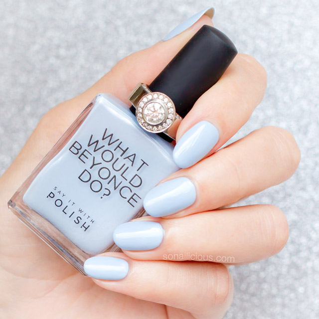 light blue nail polish, say it with polish blue savvy blue