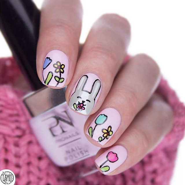 Easter Bunny nails by @tamiit24