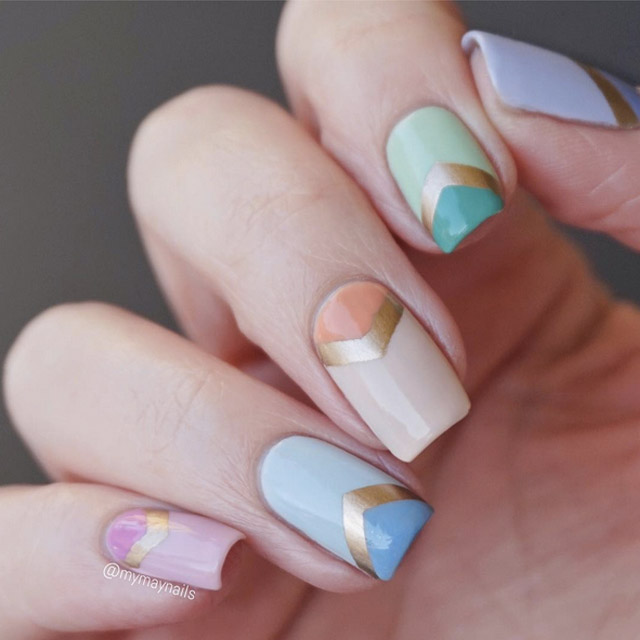 Pastel Chevron nails by @mymaynails