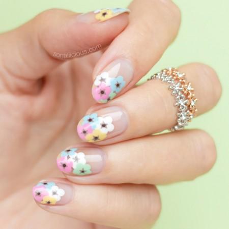 floral nail art, spring nails