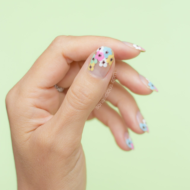 flower nail art, floral nails