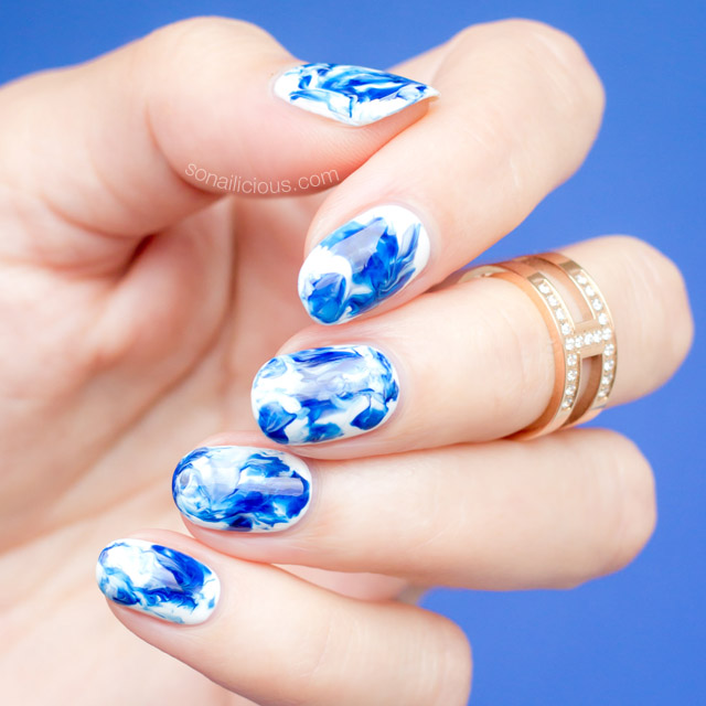 marble nail art how to