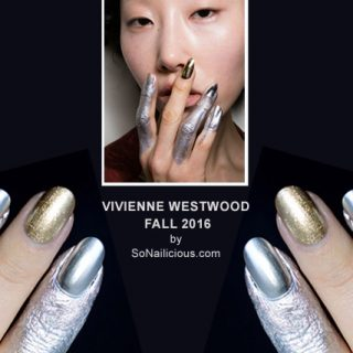 silver nails, Vivienne Westwood fall 2016 nail art, Marian Newman