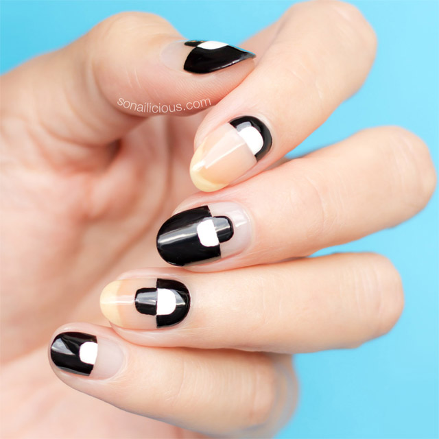 black and white nails, negative space nails