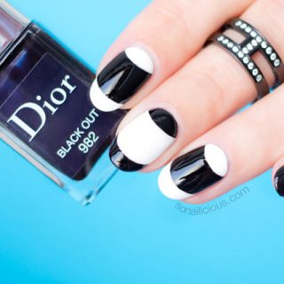 French nails, black and white nails