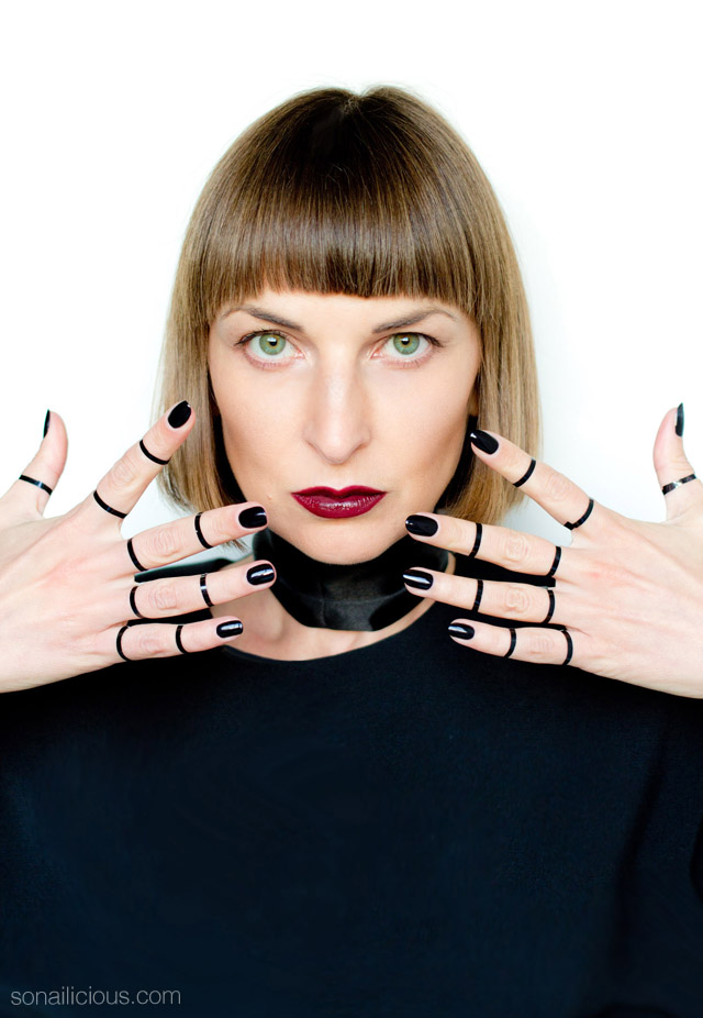 black lips, black nails, dior black lipstick