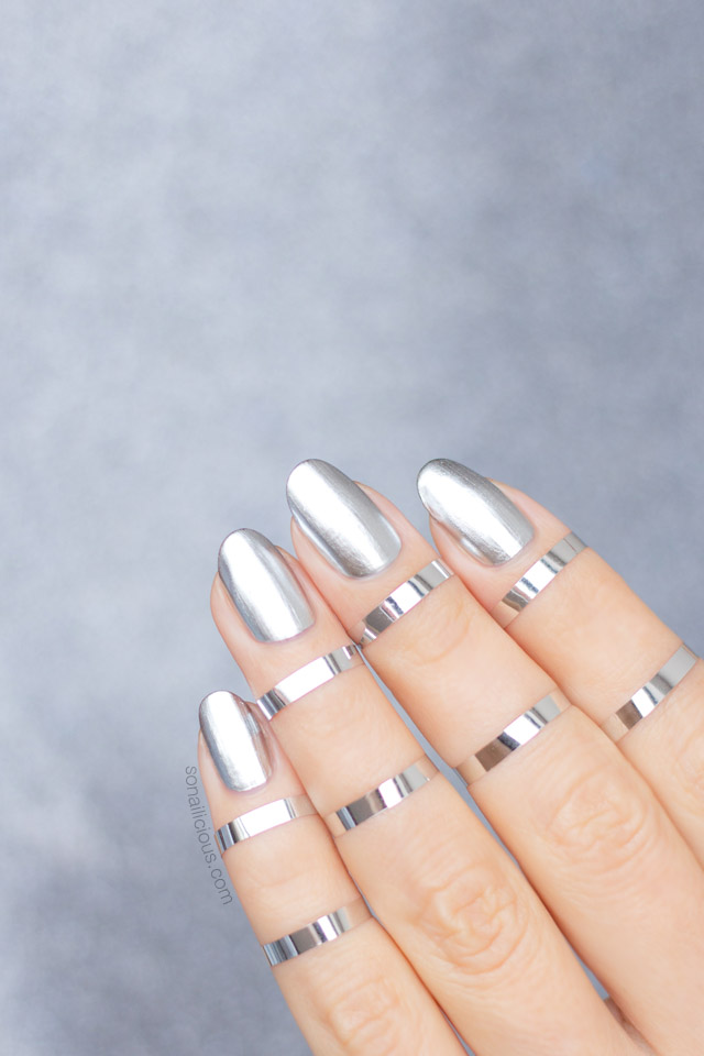 mirror nails, metallic silver nails