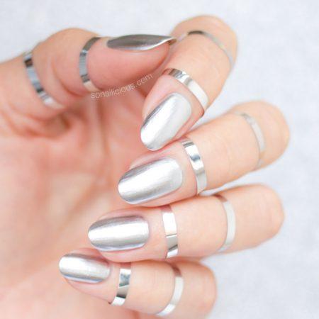 mirror nails, silver nails
