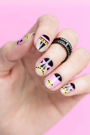 geometric nail art, fendi pumps