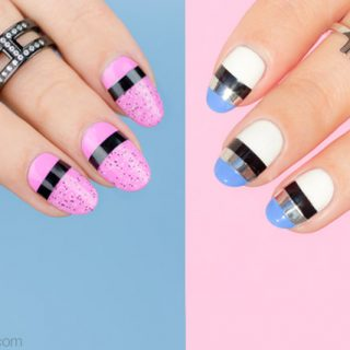 2 EASY NAIL DESIGNS, STRIPING TAPE NAIL ART TUTORIAL