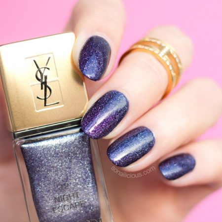 YSL night escape nail polish, dark blue nails