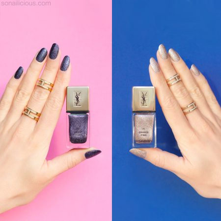 YSL night escape, ysl pink savage nail polish swatches and review
