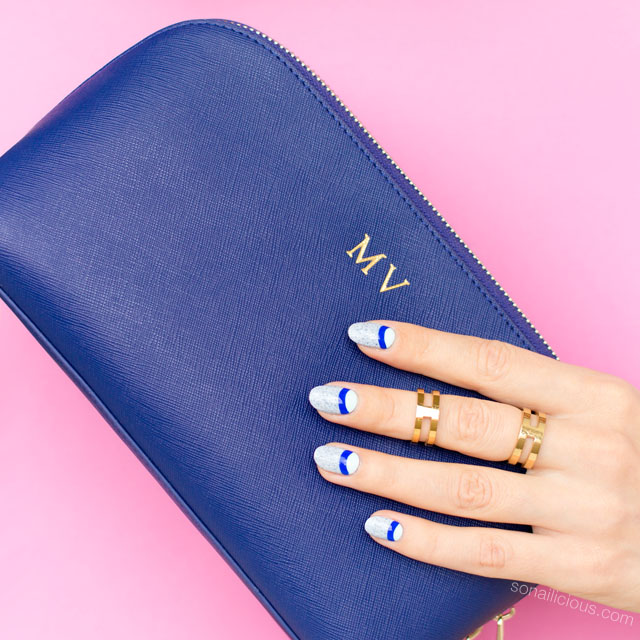 daily edited clutch, blue nails