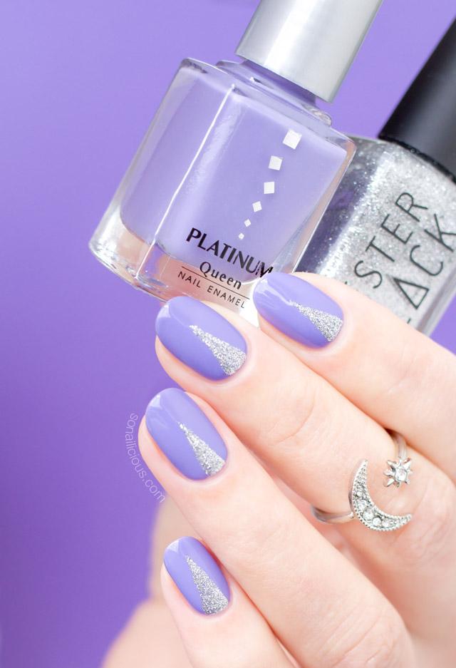 easy nail art, lilac nails