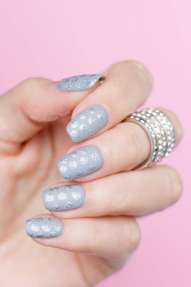 easy nail art, silver polka dot nails