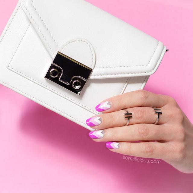 loeffler randall baby rider bag, pink and white nails