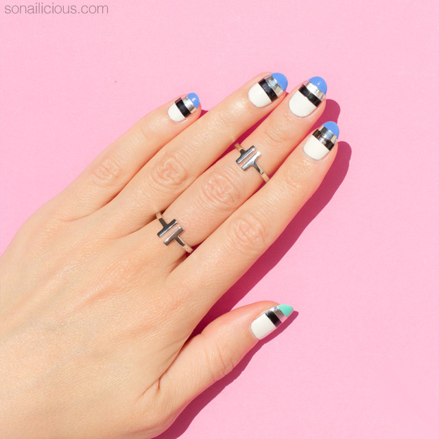 blue and white nails, easy nail design