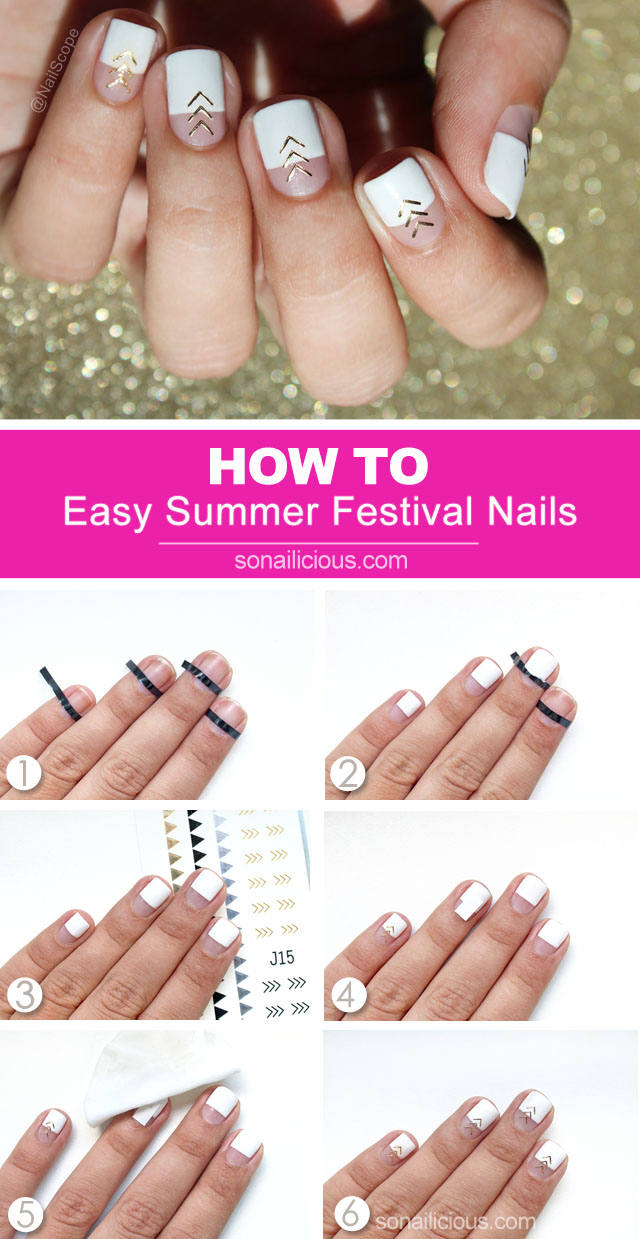 white and gold nails, how to do festival nails