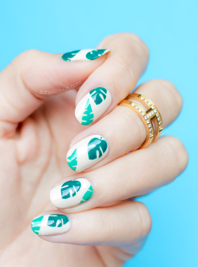 easy tropical nails, beach nails