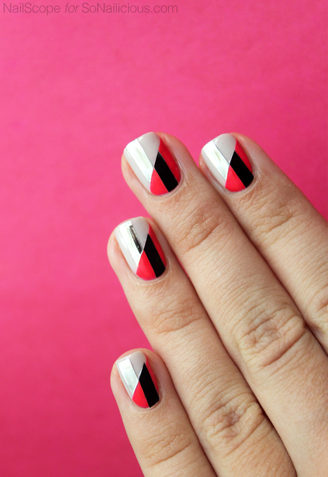 funky nail art, two toned nails