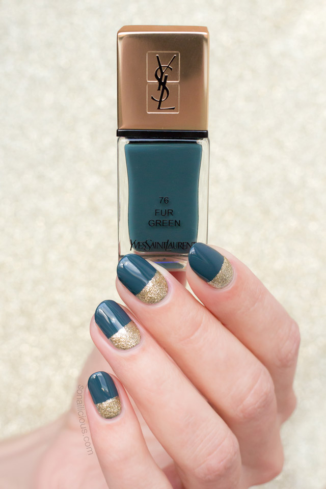 ysl fur green swatches review, green and gold nails
