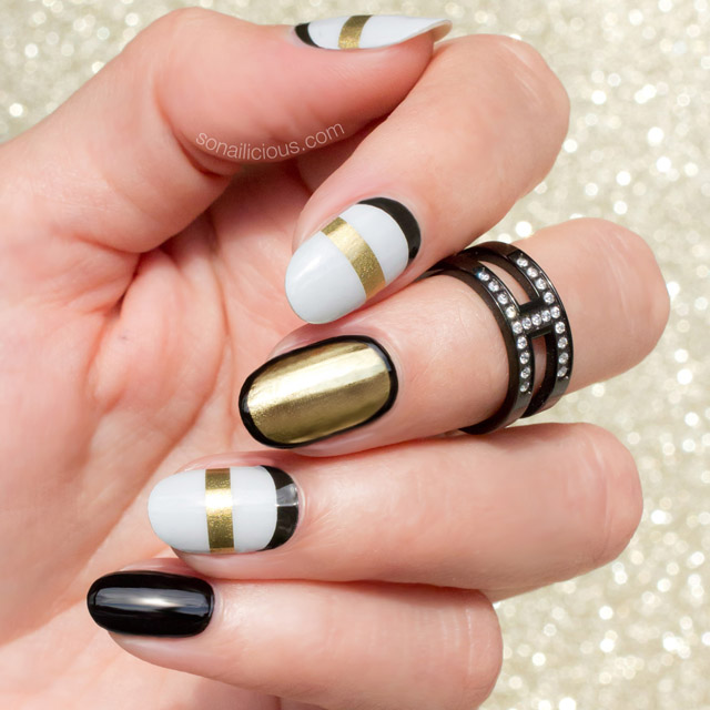 jamberry nail wraps, white and gold nails