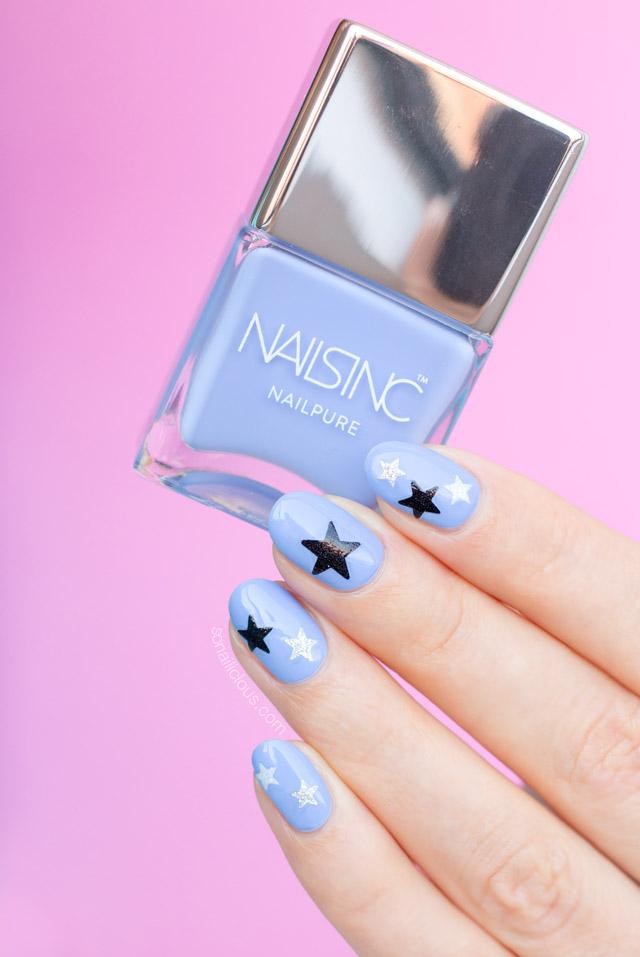 nails inc regents place swatch, blue nails