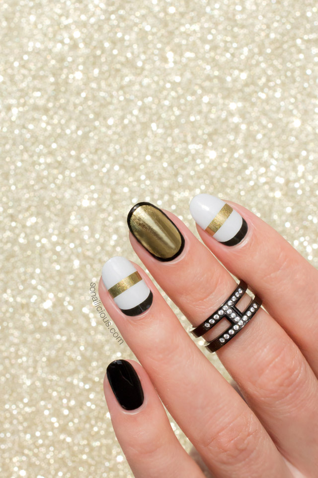 SoNailicious x Jamberry nail wraps, black and gold nails