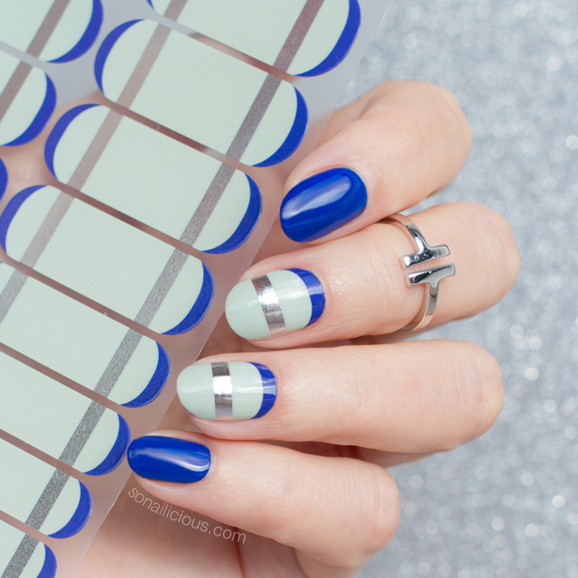 SoNailicious x Jamberry nail wraps, blue and mint nails