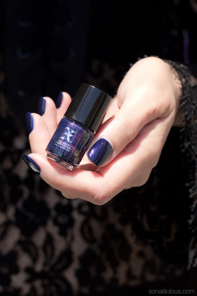 kat von d poe swatch, review, purple nails
