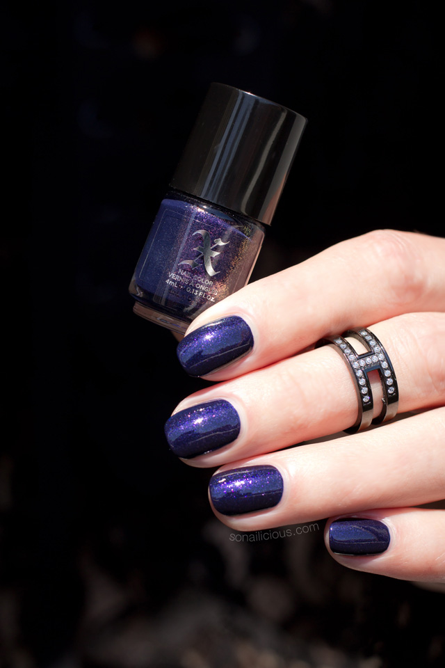 purple nails, halloween nails, kat von d poe