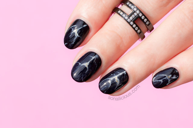 Black Marble Nails Nails Of The Day Tutorial