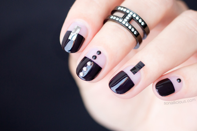black nail design, black nails