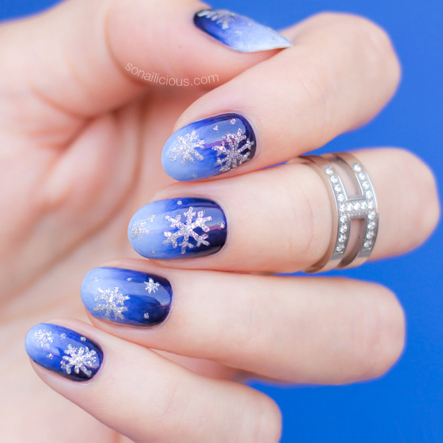 white christmas nails, snowflake nails