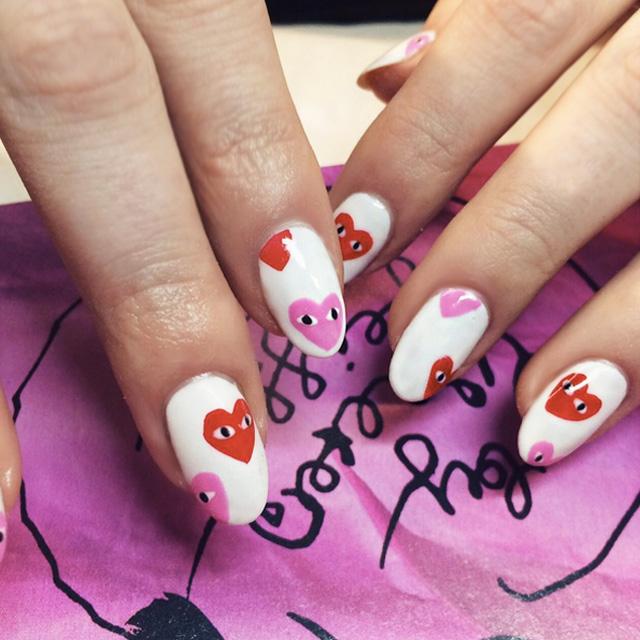 Comme Des Garcons cute heart nails by @wahnails